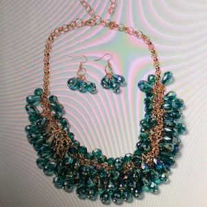Jewelry - GREEN BEAD EARRINGS And BIB NECKLACE
